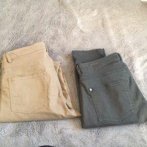 Lot bundle 2 pair of skinny chinos H&M tan & green